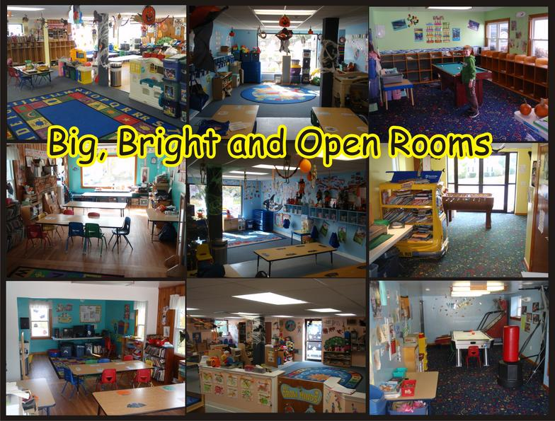 child care organized bright rooms cubbies pool table
